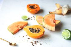 """Glowing Skin Summer Smoothie"" with enzyme rich papaya and hydrating cantaloupe"