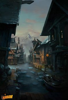 ArtStation lake town qi liu Fantasy city Fantasy landscape Landscape background