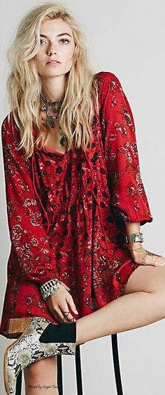 Boho Chic red shift dress #Unique_Boho_Style