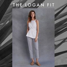 Summer-perfect pants. Our Logan Fit Stripe Linen Blend Crop Pant has a mid-rise and fits straight through the hip and thigh. This menswear-inspired trouser's perfect fit is due in part to a contoured waistband that molds to your body. We love how fresh and sophisticated this pant looks with a crisp white top and raffia slides.