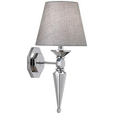 """Textured Fabric Shade 17 1/4"""" High Chrome Wall Sconce"""