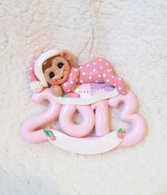 2013  monkey ornament, pink, quilt, First Christmas, baby Christmas ornament, child baby toddler baby shower gift personalized polymer clay