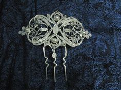 "Hearts with pearls.  - Fine 999 silver, filigree hair comb 4""x11"" - Swarovski crystals, freshswater pearls - Handmade"