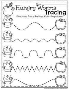 Preschool Apple Theme, Preschool Writing, Fall Preschool, Preschool Learning Activities, Preschool Curriculum, Preschool Lessons, Kindergarten Worksheets, Preschool Tracing Worksheets, September Preschool Themes