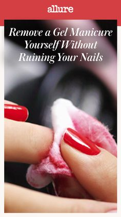 """Gel manicures aren't supposed to chip—but let's be honest, that's not always the case. We all know how bad it is to rip the gel off of our nails, yet there are still many of us who fall short of The Beatles when we try to """"Let It Be."""" So the next time you find yourself staring at a chipped gel-polish manicure, here's how to take it off without making a trip to the salon—or damaging your delicate nail beds."""