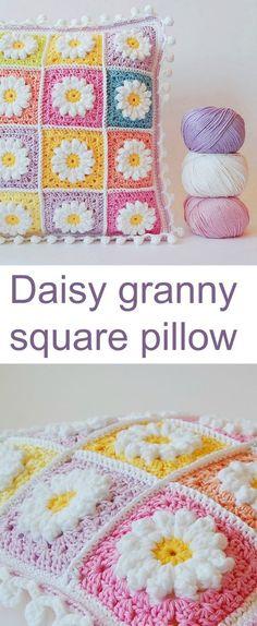 Transcendent Crochet a Solid Granny Square Ideas. Inconceivable Crochet a Solid Granny Square Ideas. Crochet Pillow Patterns Free, Granny Square Crochet Pattern, Crochet Motif, Crochet Squares, Knitting Patterns, Free Pattern, Afghan Patterns, Crochet Blocks, Free Knitting