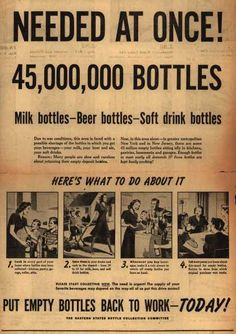 "Eastern State Bottle Collection Committee's Bottles – ""Needed At Once! 45,000,000 Bottles"", 1943"