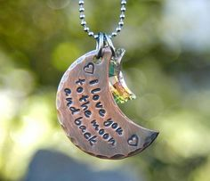 """A Copper Moon is hand stamped with """"I love you to the moon and back"""" in a lowercase font and given a rustic finish. It comes with a swarvoski crystal moon charm. On an stainless steel ball ch Back Necklace, Moon Necklace, Dog Tag Necklace, Sweet Blossom, Metal Artwork, I Love Jewelry, Moon Jewelry, Diy Jewelry, Diamond Are A Girls Best Friend"""