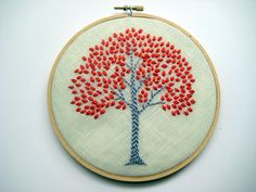 Orange Tree Hoop Art  Hand Embroidered Wall Wear in 6 by mlmxoxo, $45.00