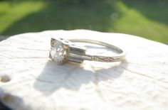 Art Deco Diamond Engagement Ring. Fiery Old European by Franziska, $998.00