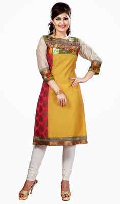 Pink and yellow kora silk tunic adds charm and grace to your beauty as tunic is decorated with woven lace, silk thread embroidered floral applique and woven motifs in the pink. #StylishClassicalKurtis