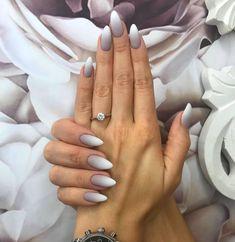 Nail models 2018 latest designs for nail art nailart nail naildesign nailsw White Almond Nails, Almond Shape Nails, Almond Nail Art, Short Almond Shaped Nails, Classy Almond Nails, Fall Almond Nails, Nails Shape, Pointy Nails, Almond Nails