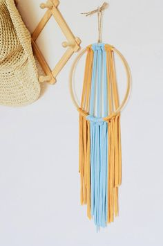 Modern wall hanging weaving dreamcatcher tshirt yarn rustic