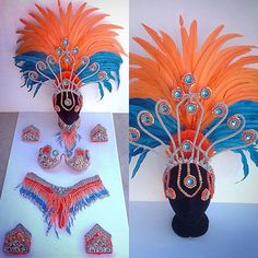 Available now! Awesome colour combo!  Turquoise, orange and silver beaded set with all new headdress frame design! Size Small: 6–8 AU hips, A-C cup. $558 AUD plus postage. Send us a message now at: www.facebook.com/rio.sambacostumes to arrange purchase! #showgirlcostumes #riosambacostumes #sambacostumes #beadedbikini #handmade #madeinbrazil #madeinrio #madeinriodejaneiro #sambadancers #sambacostumes #headdress #madewithlove #sambacostumewebsite #sambaqueens