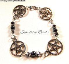 Hematite Crystal Pentagram Bracelet  Pentagram by StarshineBeads