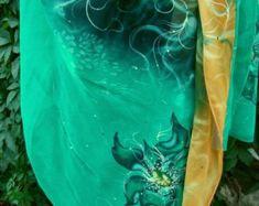 Natural silk shawl floral rowan-tree beige hand by Studijakalla