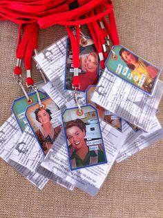 Hen's Night Neck tags. Pin-up Theme.    Smart idea for scavenger hunt.  Have the list on the back!