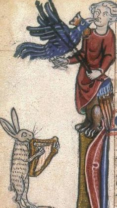 Medieval Hare/Rabbit playing a harp to a harpy.