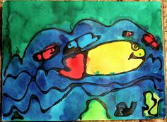Black Glue Watercolor Painting from Fun at Home with Kids