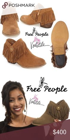"""Free People Very Volatile Cassandra Fringe Boots New in Box, never used; never tried on. Color: Khaki  Details: Weathered Western hardware and swingy fringe trim make this suede-crafted bootie a rustic yet sophisticated around-town staple. * 1 1/2"""" heel  * 3 1/4"""" shaft. * Leather upper/synthetic lining and sole. * By Very Volatile; imported.  No trade, price FIRM. Free People Shoes Ankle Boots & Booties"""