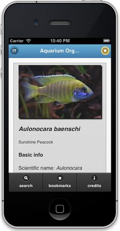 Aquarium Organims App interface