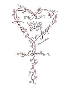 Faith Heart Tattoo -but lose the butterfly - I would place 'peace, love and honor' I wonder if kanji symbols would work in this design?