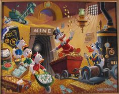 """Rich Finds at Inventory Time"" oil painting by Scrooge McDuck's creator Carl Barks"