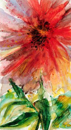 Art: Watercolour:... flower-power... by Nadia Minic, via Flickr