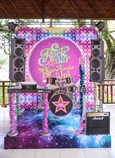 Stage backdrop from Purple Girly Rock Star Birthday Party at Kara's Party Ideas. See the details at karaspartyideas.com!