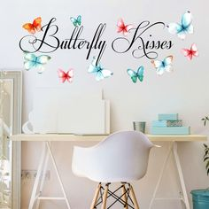 "Butterfly Kisses Printed Butterflies Vinyl Wall Decals and Quotes SMALL, Children's Room Wall Quotes, Girl's Nursery Wall Decal Quotes, Butterflies Wall Decals, PLUS FREE WHITE HELLO DOOR DECAL. Quote 28"" Wide x 9"" High, Butterflies Range from 2-5"" Wide. Our Butterfly Kisses Wall Decal is Made With Love in the USA, Printed with High Quality Scratch Resistant Inks Upon a High Quality Tightly Woven Fabric Decal. Comes With Free Squeegee, Making Application To Any Smooth or Medium Textured..."