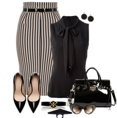 Stripe Belted Pencil Skirt