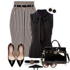 Stripe Belted Pencil Skirt