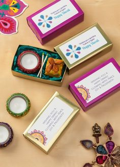 Create your own personalized Diwali gifts and party favors using Avery labels and free printables. We made these fun little presents with a votive candle and a sweet treat nestled in tissue paper in a pretty little box. Then we personalized the packages with Avery Rectangle Labels using the free Diwali templates and designs. So sweet and so simple.