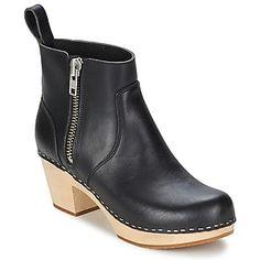 Enkellaarzen / Low boots Swedish hasbeens ZIP IT EMY Zwart 350x350