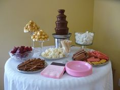 Chocolate Fountain Set Up Ideas | Courtney\u0027s Baby Shower! | Housewife Glamour : chocolate fountain table set up - pezcame.com
