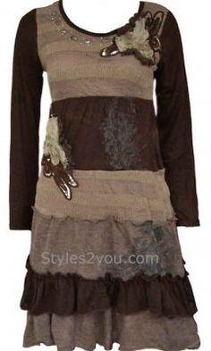 3a10e3de953 Aubrey Ladies Vintage Sweater Dress In Brown Pretty Angel Dress