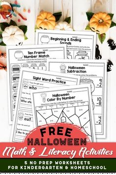 These free kindergarten worksheets for kindergarten were a great addition in my classroom. The set includes kindergarten sight words, addition worksheets, counting activities, and more. The kindergarten math worksheets are so fun and include so many cute graphics, just like a game. The Halloween printables activities can be used during homeschool, or in the classroom for kindergarten and first grade students. #kindergartenclassroom #halloweenactivities