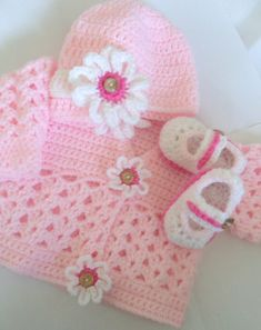 Instant Download VKNC125 Baby CardiganTop with flower  easy girls boys Crochet Pattern PDF shoes separate pattern