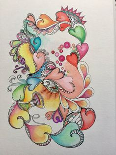 Zentangle hearts,valentine hearts,colored hearts, colored zentangle,abstract zentangle,wall art,wall decor,ink colored pencils.