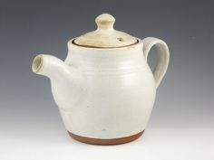 "jaywiesepotterystudio: "" White linen teapot with incised double band on Flickr. 4 1/4"" dia. at belly x 4 1/2"" tall at rim; Stoneware, 2011. """
