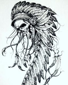 Our Website is the greatest collection of tattoos designs and artists. Find Inspirations for your next Skull Tattoo. Search for more Tattoos. Indian Chief Tattoo, Indian Headdress Tattoo, Indian Skull Tattoos, Bull Skull Tattoos, Feather Tattoos, Body Art Tattoos, Sleeve Tattoos, Tatoos, Native American Tattoos