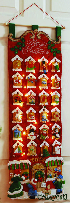 Bucilla Toy Store Advent Calendar Felt Applique Kit - Click Image to Close Christmas Makes, All Things Christmas, Christmas Holidays, Felt Christmas Decorations, Christmas Stockings, Christmas Ornaments, Christmas Projects, Holiday Crafts, Christmas Sewing