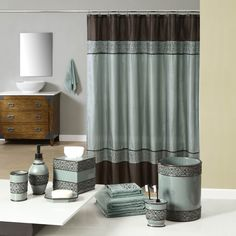 Teal and brown bath accessories: Welcome Industrial Gala Blue Bath Collection from Anna's Linens