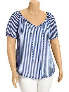 Women's Plus Striped Chiffon Tops Women's Plus Striped Chiffon Tops Source by Plus Size Summer Fashion, Ankara Skirt And Blouse, Island Outfit, Over 50 Womens Fashion, Matching Outfits, Plus Size Tops, Blouse Designs, Chiffon Tops, Fashion Outfits