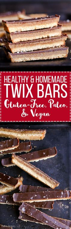 This recipe for healthy homemade Twix Bars is a game changer! When you take a bite, you won't believe that this candy bar copycat is gluten-free, refined sugar free, Paleo, and vegan. Healthy Candy, Healthy Gluten Free Snacks, Healthy Snack Recipes, Sugar Free Vegan Desserts, Healthy Snack Bars, Gluten Free Bars, Healthy Sweet Snacks, Paleo Treats, Healthy Syrup