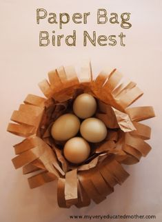www.myveryeducatedmother.com Paper Bag Bird Nest #kidscraft