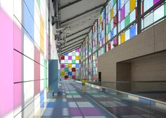 daniel buren adds tinted squares to colorize MAMCS' glazed facade