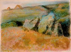 Edgar Degas, Landscape with Rocks, 1892, pastel over monotype in oil on wove paper. HIGH MUSEUM OF ART, ATLANTA, PURCHASE WITH HIGH MUSEUM OF ART ENHANCEMENT FUND