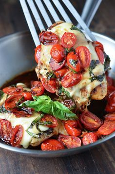 Caprese Chicken - chicken breasts, salt + pepper, olive oil, garlic, cherry tomatoes, basil, mozzarella, balsamic