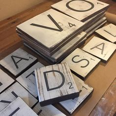 Galley Wall ~ Large Letter Tiles {9x9} and {7x7} Scrabble style, spelling HOME FAMILY LOVE {set of 12} Letter Wall Tiles ~ My unique design gives you the flexibility to hang with space in between each tile ~ 1/2 to 1 space gives you the ability to cover more or less wall space